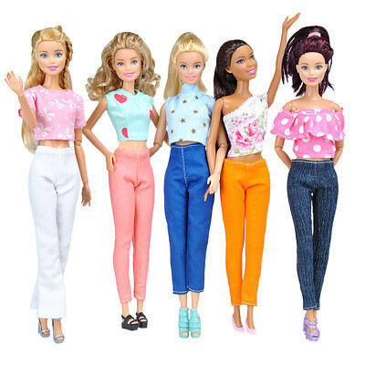 Lot 10pcs=5 Tops & 5 Trousers Fashion Casual Clothes Outfits For Barbie Doll S