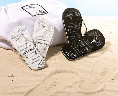 "3 Pc. Set Wedding Honeymoon  ""mr. & Mrs."" White Beach Bag & 2 Pr. Flip Flops"