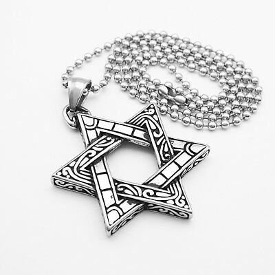 Men Biker Stainless Steel Jewish star of David Charms Pendant chain Necklace