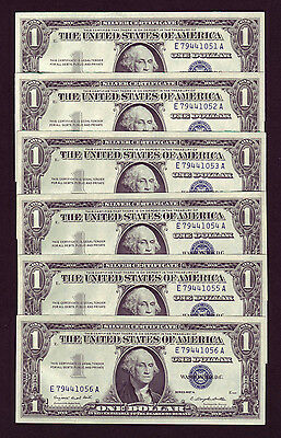1957-A Silver Certificate 1$ UNC Consecutive Dollar Bills - Lot Of 6 (P744)