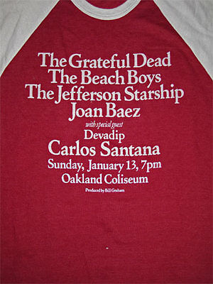 Grateful Dead _RARE VTG L 3/4 Sleeve Shirt Santana Beach Boys Jefferson Starship