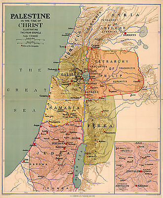 "1916 Map 16""x19"" Palestine in the Time of Christ Christianity Israel Wall Poster"