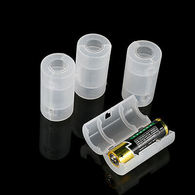 4PCS AA to C Size Battery Converter Adapter Holder Case Shell Cover White TP