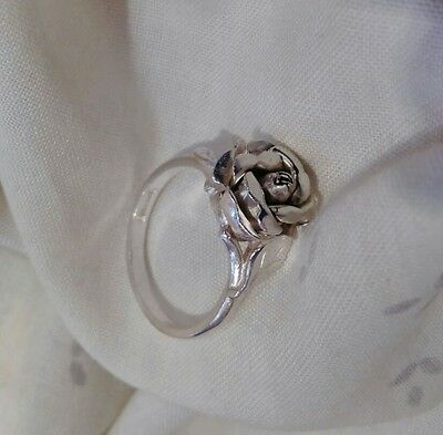 BRAND NEW Sterling Silver 925 ROSE-FLOWER RING UK sizes L/M/N