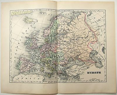 Original 1902 Map of Europe - Germany France Italy Russia Spain Norway Sweden