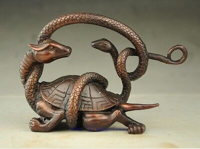 Chinese Solid Copper Fengshui Mythical Animals Dragon Turtle Snake evil Statue