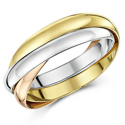 18ct Gold Wedding Ring 3 Colour Russian 3mm Band 389 99 Picclick Uk