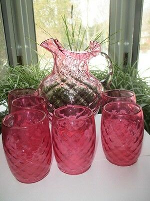 Antique Cranberry Glass Lemonade Pitcher Jug 6 Glasses Diamond Optic Quilt