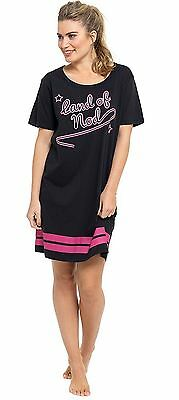 ladies pink black girls slogan nightie nightdress short sleeve nightshirt