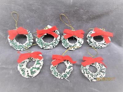 7 Vintage Mini Bottle Brush Green Wreaths With Snow Christmas Ornaments