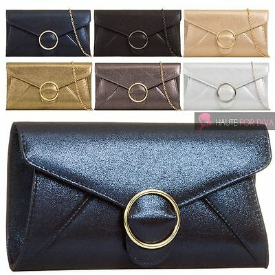 Womens New Glitter Finish Faux Leather Chain Strap Buckle Clutch Bag