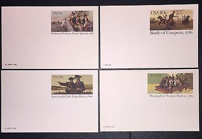 US Postal Card UX 87, 90, 91, 94 Issues of 1981-82 Lot of Four(4)