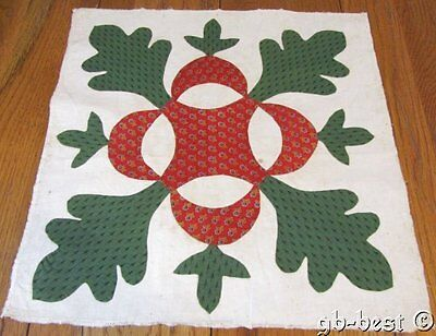 Antique c 1850s Oak Leaf Reel APPLIQUE Quilt Block Turkey Red Green