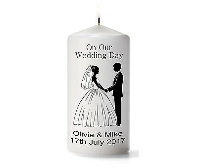 Personalised Wedding Candle On Our Wedding Day Design With Names and Date