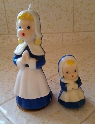 Gurley Large Pilgrim Woman & Girl Candle Set, Thanksgiving, Vintage, In Blue