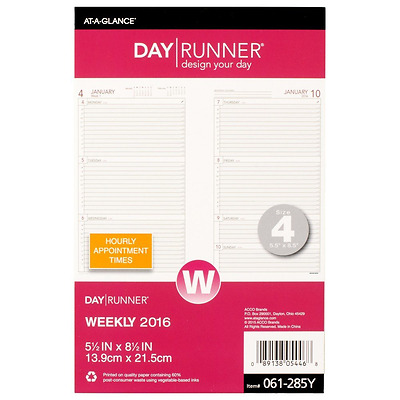 Day Runner Weekly Compact Desk Calendar Planner Refill 2016, 5.5 x 8.5 Inches Pa