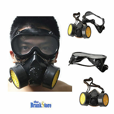 Safety Face Mask Full Gas Masks Chemical Anti Dust Respirator Goggle Set Style A