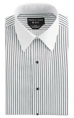 Formal White w/ Black Stripe Fashion Dress Shirt Soft Microfiber Tuxedo or Suit