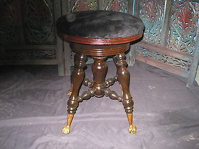 Antique Oak Victorian Glass Ball Claw Foot Wood Swivel Piano Stool