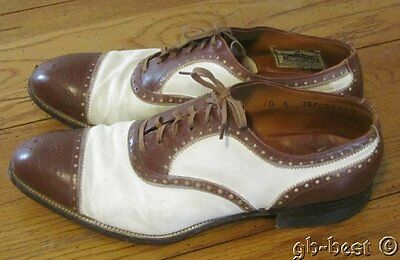Vintage c 1940s Men's Wright Arch Preserver SHOES two tone SWING