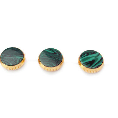 3pcs Gold Plated Malachite Trumpet Finger Buttons Brass Instrument Accessory