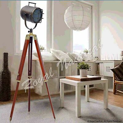 Vintage Antique Finish Shaded Wooden Tripod Spot Light Lighting Floor Lamp