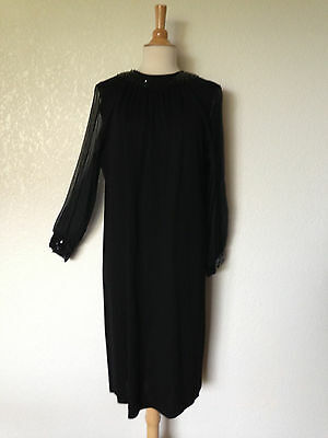 "Vintage 1950's60's Black Poly Knit Cocktail Dress Sequin Neck&Cuff New Look 44""B"