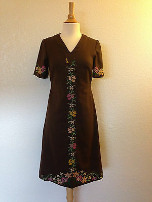 1960's  Brown Textured Poly Wiggle Mod Disco Dress  Sz S