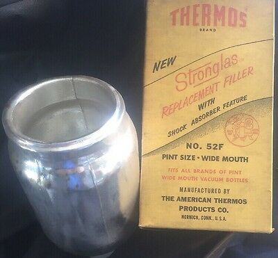 Vintage Geniune Thermos Stronglas Replacement Filler #52F Pint Size Wide Mouth
