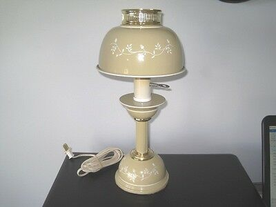 Vintage Tan Coffee Cream Tole Desk Table Bedroom Reading Lamp - White Accents