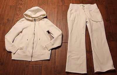 Old Navy Maternity White Full Zip Up Hooded Jacket And Matching Pants Size M