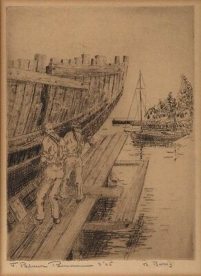 Ship Builders at Work by an unknown artist -original Signed etching -shipwrights