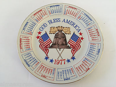 """1977 / 2022 """"God Bless America"""" Calendar Collector Plate, Spencer Gifts"""