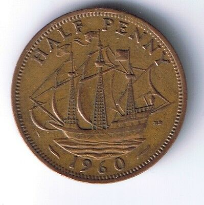 1960 United Kingdom 1/2 Penny Half Pence coin UK British English Great Britain !