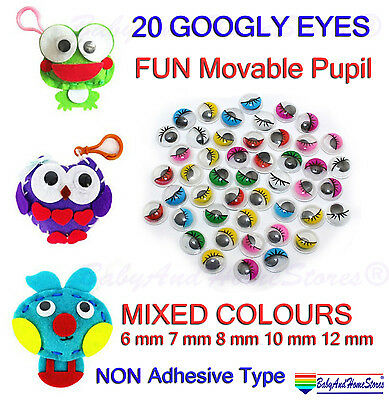 20 Plastic GOOGLY Eyes For Teddy Bear Doll Soft Felt Animal Making Supplies