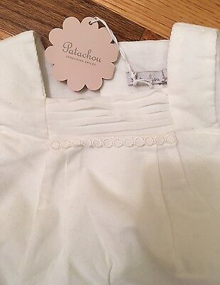 NWT Patachou Baby Boy Girl White Corduroy Romper Jumpsuit Size 6M