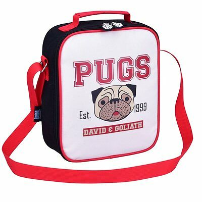 David & Goliath Insulated Retro Pugs Lunch Bag Shoulder Strap School Work