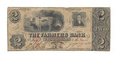 1856 $2 State Of Connecticut Farmers Bank Bridgeport Obsolete Currency