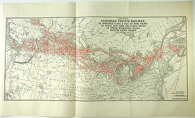Original 1932 Canadian Pacific Railway System Map RR Railroad