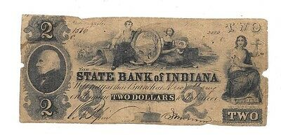 Very Rare 1800's $2 State Bank Of Indiana Indianapolis Obsolete Currency