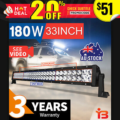 33 INCH 180W LED LIGHT BAR Comobo FLOOD SPOT OFFROAD DRIVING LAMP 4WD