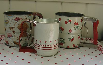 Primitive Vintage Androck Flour/Sugar Sifters~Lot of 3~Hand-I-Sift~Farmhouse