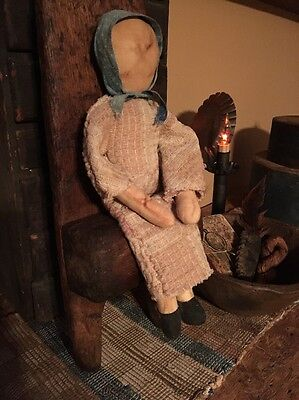 Primitive Handmade 12 In Cloth Doll Early Coverlet Dress Blue Calico Bonnet