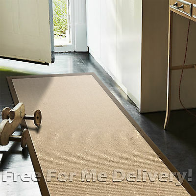 JUTE NATURAL BOUCLE KNOT BROWN BORDER FLOOR RUG RUNNER 75x500cm **FREE DELIVERY*