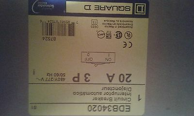 New Square D EDB34020 3 pole 20 amp 480 volt 3 phase circuit breaker