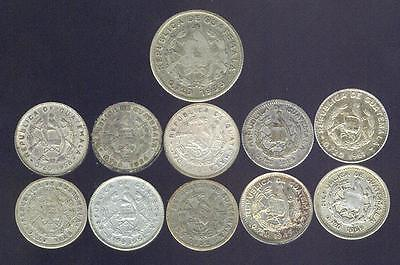 Guatemala, 11 Older Silver Coins Dated 1925 - 1961,  Free USA Shipping