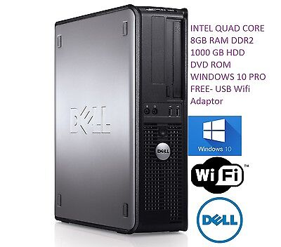 Fast Dell Quad Core Pc Computer Desktop Tower Windows 10 Wifi 8Gb Ram 1000Gb Hdd