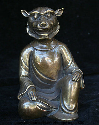 "6.4"" Chinese Bronze Folk Animal Tiger Head Human body Military Counsellor Statue"
