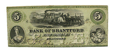 1859 $5 Canada Bank Of Brantford AU