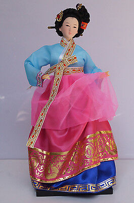 Traditional Ancient Korea Court Ethnic Lady Silk Dress Exquisite Doll Artwork-6